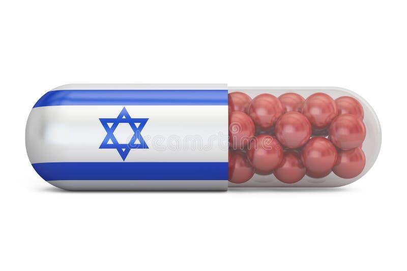 Capsule de pilule avec le drapeau de l'Israël Concept israélien de soins de santé, 3D r illustration de vecteur