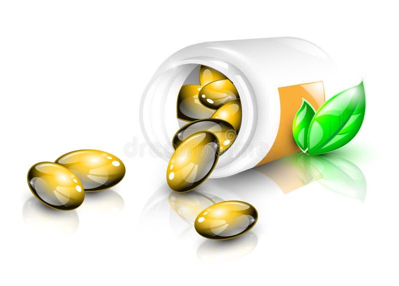 Capsule dell'olio di pesce illustrazione di stock