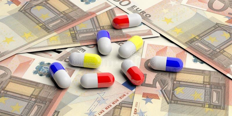 Capsule delle pillole sull'euro fondo delle banconote illustrazione 3D illustrazione di stock