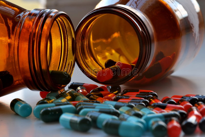 Medication capsules stock image