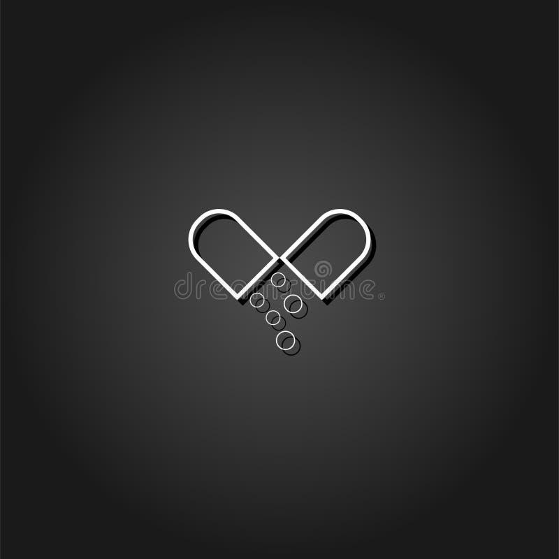 Capsule drug icon flat. vector illustration