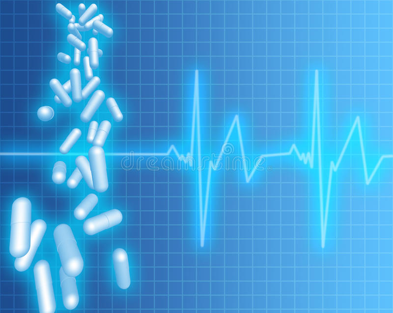Capsule e frequenza cardiaca illustrazione vettoriale