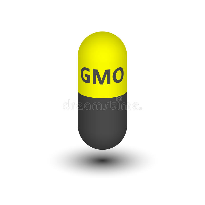Capsule with the icon from GMOs. royalty free illustration