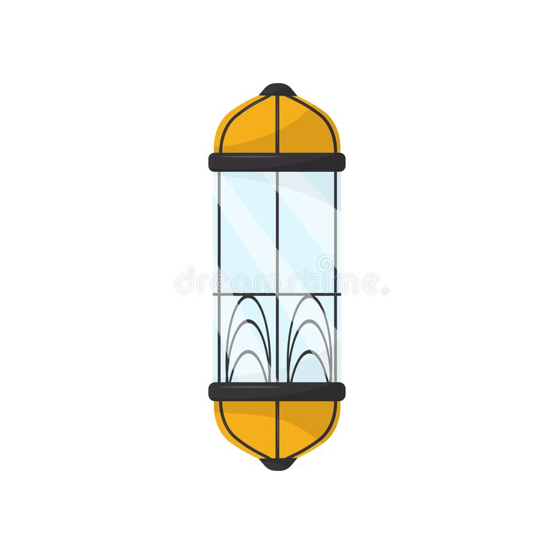 Capsule lift with glass windows and metal details. Vintage elevator cabin. Retro mechanical construction for building stock illustration