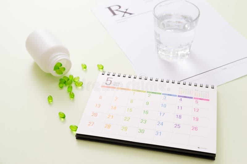 Capsule médicale de pilules dans la boîte de pilule avec le calendrier sur le fond blanc photos stock