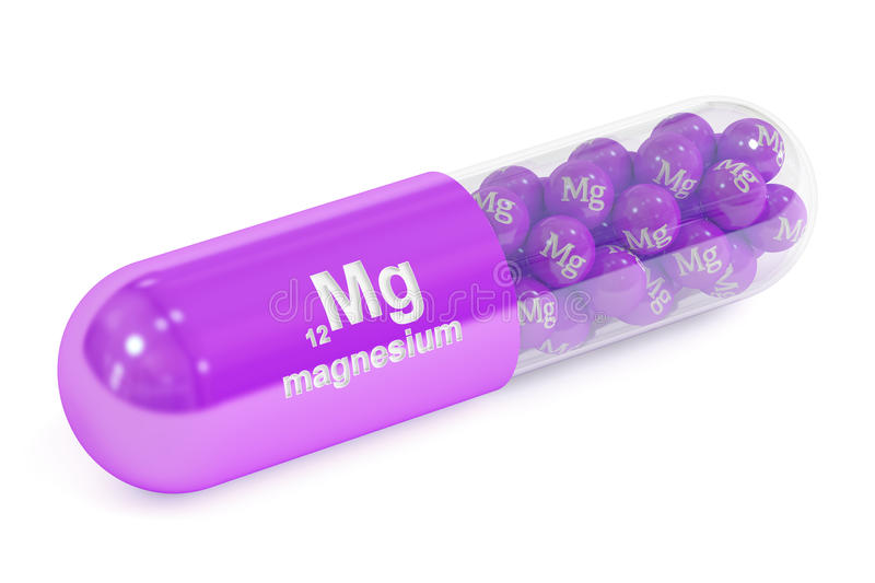 Capsule with magnesium Mg element Dietary supplement, 3D renderi. Ng on white background royalty free illustration