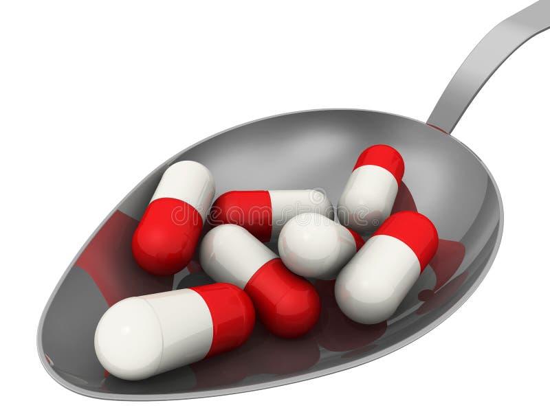 Capsule mediche in un cucchiaio illustrazione di stock