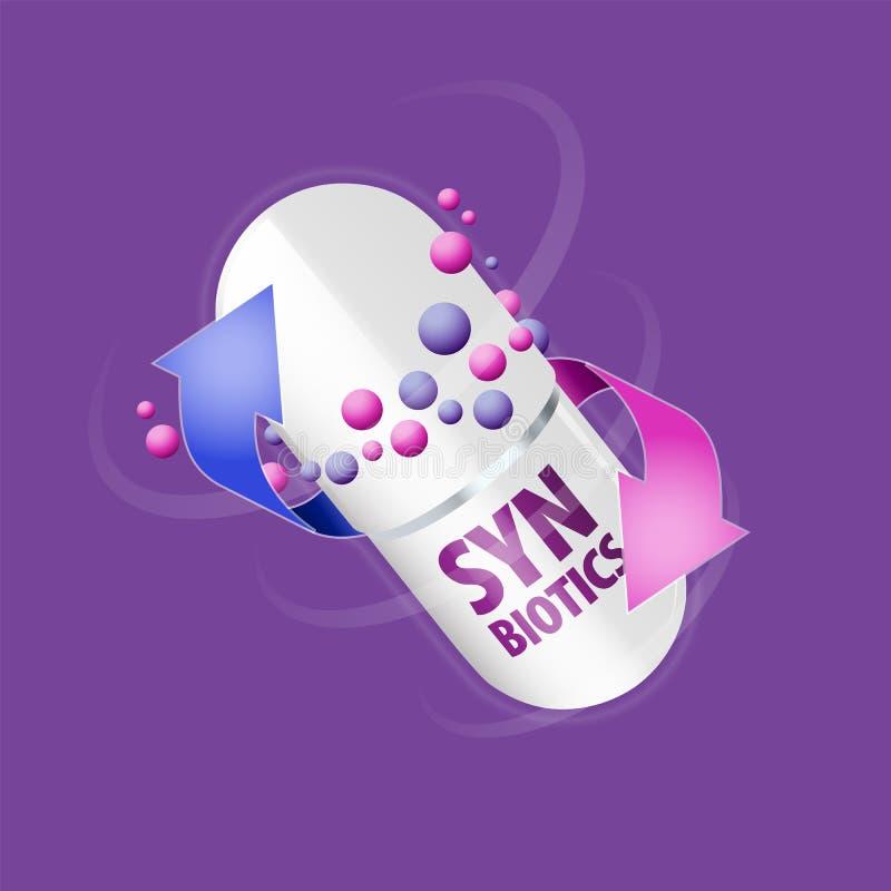 Capsule met inhoud van antibiotisch of probiotic poeder royalty-vrije illustratie