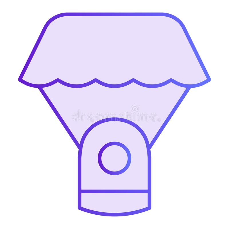 Capsule parachute flat icon. Space parachute violet icons in trendy flat style. Astrophysics gradient style design royalty free illustration