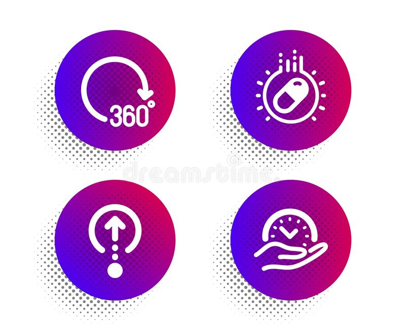 Capsule pill, Swipe up and 360 degrees icons set. Safe time sign. Vector. Capsule pill, Swipe up and 360 degrees icons simple set. Halftone dots button. Safe stock illustration