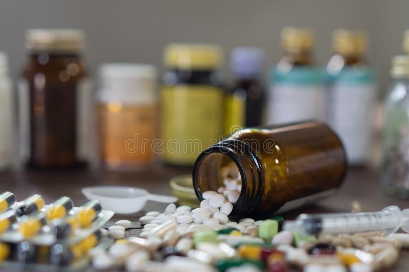 Capsule pills with medicine antibiotic in packages. royalty free stock photo