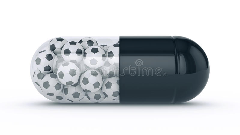 Capsule with soccer balls royalty free illustration