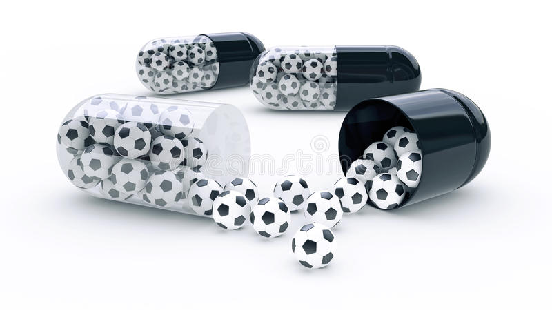Capsule with soccer balls. Design made in 3D vector illustration