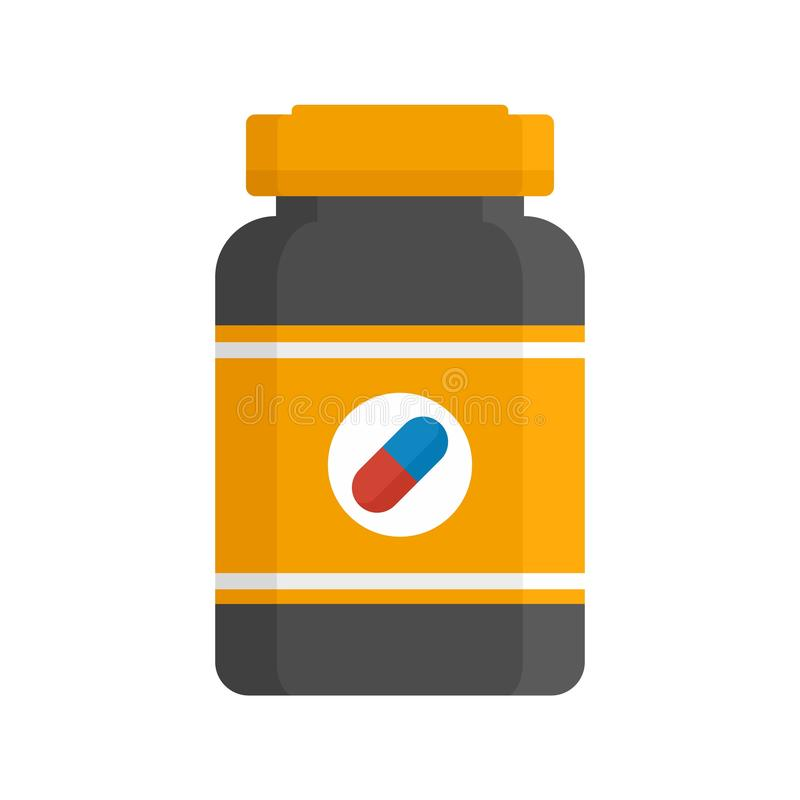 Capsule sport nutrition icon, flat style. Capsule sport nutrition icon. Flat illustration of capsule sport nutrition vector icon for web design vector illustration