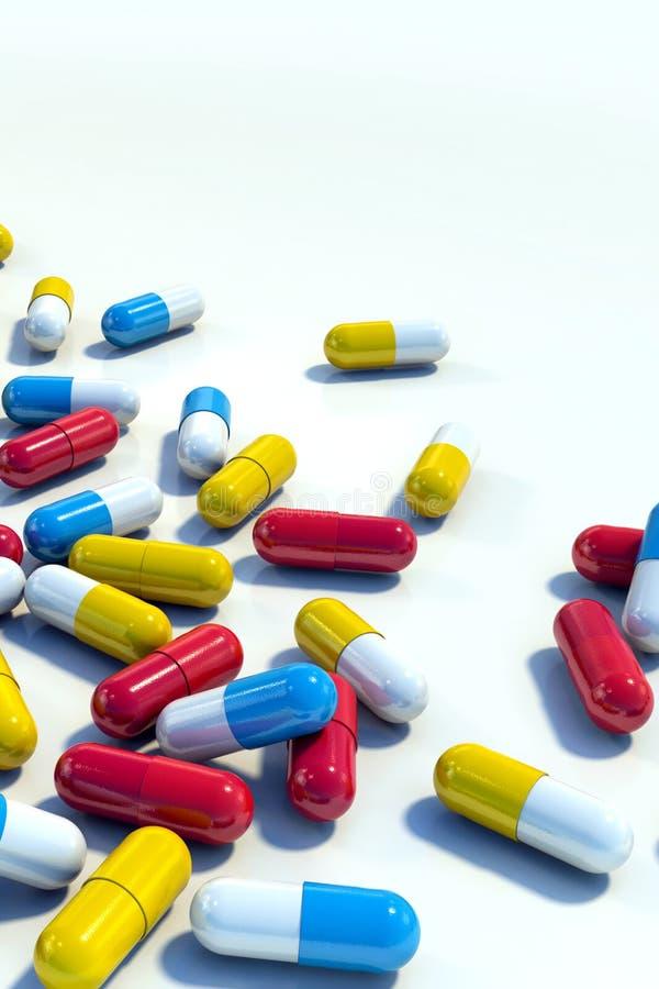 Capsule variopinte della medicina sul verticale leggero del fondo illustrazione di stock