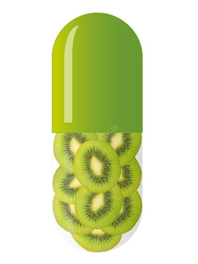 Capsule verte avec des parts de kiwi illustration libre de droits
