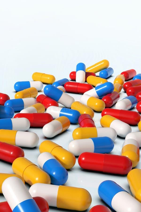 Capsules colorées de médecine sur le fond blanc illustration stock