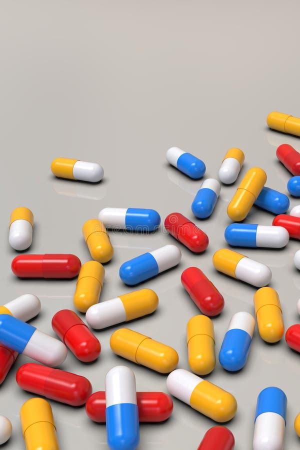 Capsules colorées de médecine sur le fond clair illustration stock