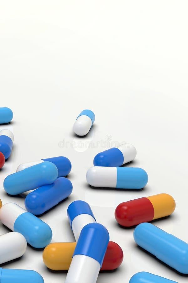 Capsules colorées de médecine sur le fond clair, plan rapproché illustration libre de droits