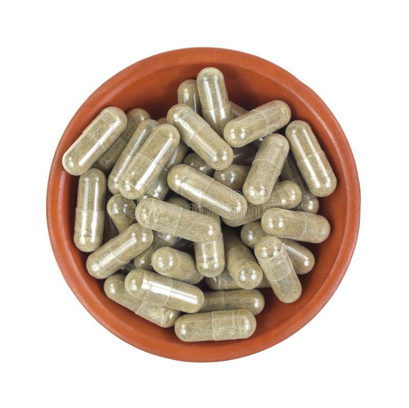 Capsules d'extrait de thé vert photographie stock