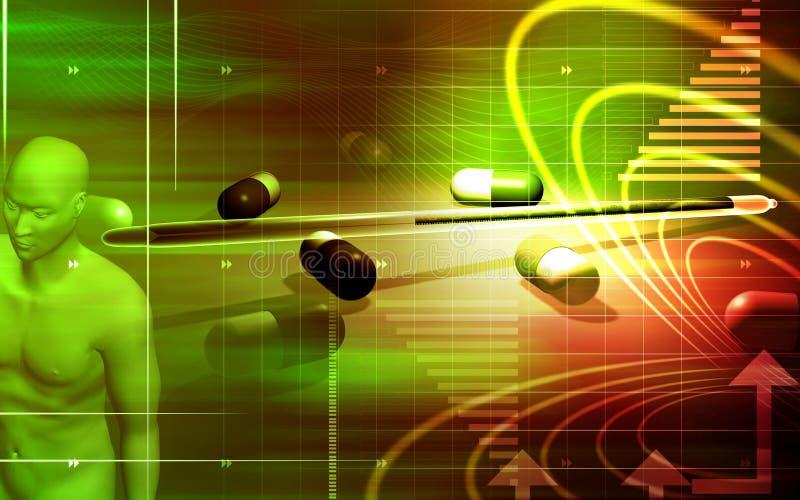 Capsules with human body. Digital illustration of capsules with human body in colour background stock illustration