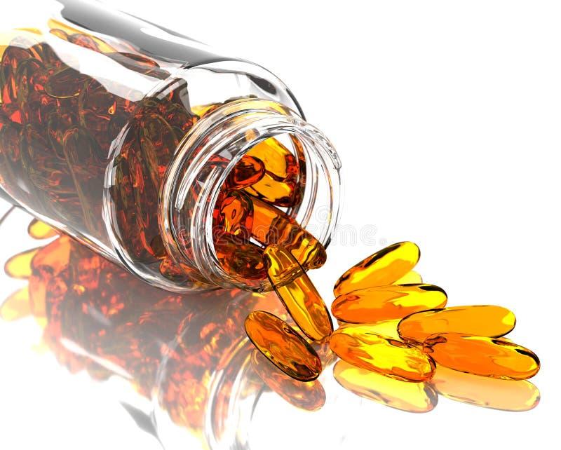 Capsules omega met farmaceutische fles 3D-rendering stock afbeelding