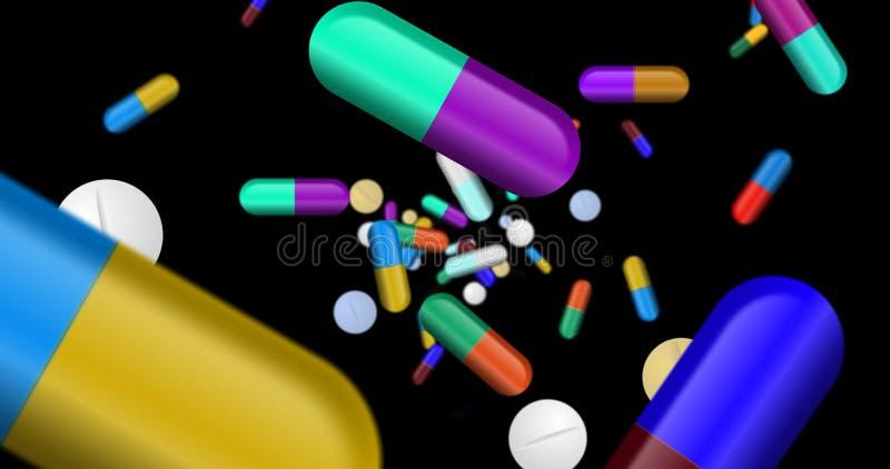 Capsules, pilules de couleur et chute de comprimés illustration de vecteur