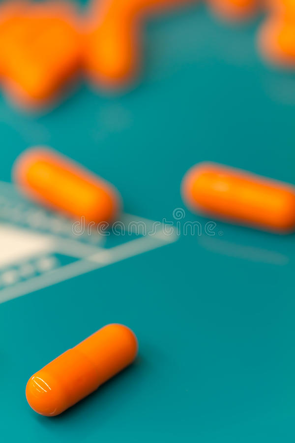Capsules on tray royalty free stock image