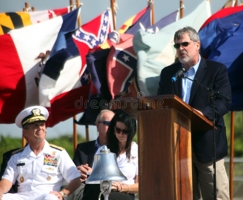 CAPT Philipps - UDT/SEAL Museum. Richard Philipps, Captain of the hijacked merchant ship Maersk Alabama, speaks to a sell out crowd at the Muster XXIV held at royalty free stock image