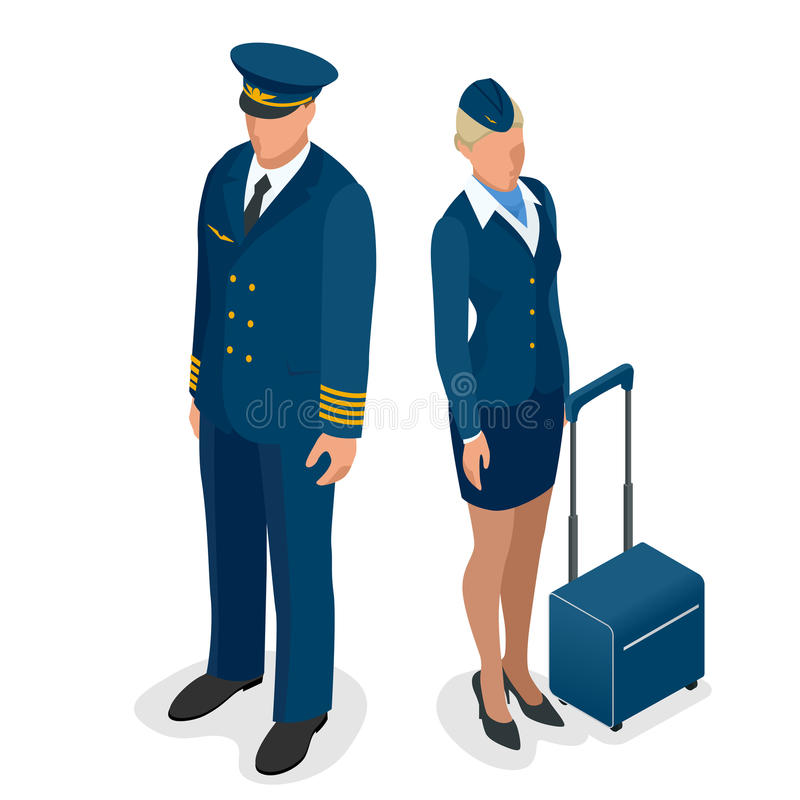 Captain of the aircraft and a beautiful flight attendant in a dark blue uniform, on white background. Vector 3d vector illustration
