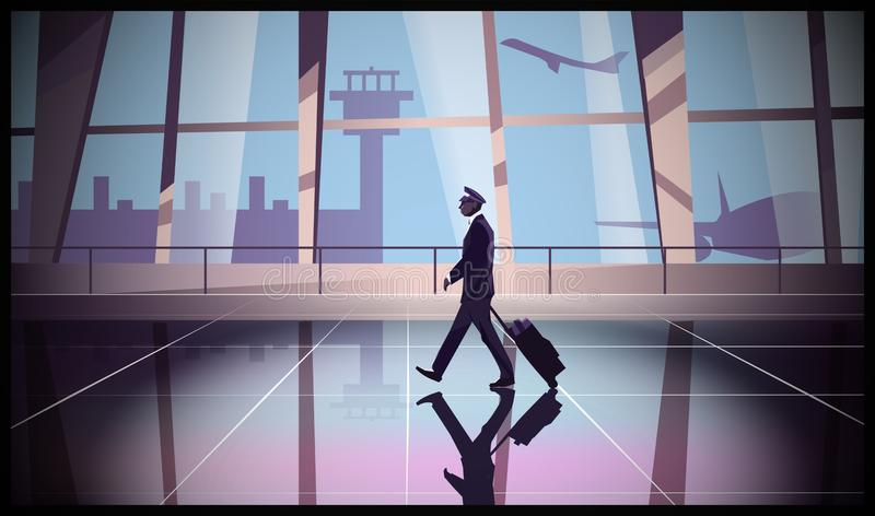 The captain of an airplane walks inside an airport. Pilot and airport royalty free illustration