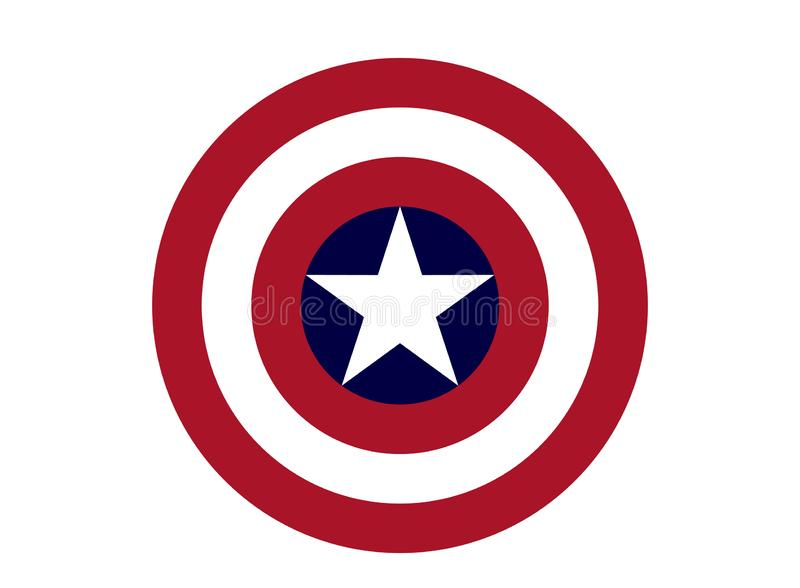 Captain America Logo, superhero. Best quality illustration of famous Captain America logo isolated on transparent background. High version vector available in stock illustration