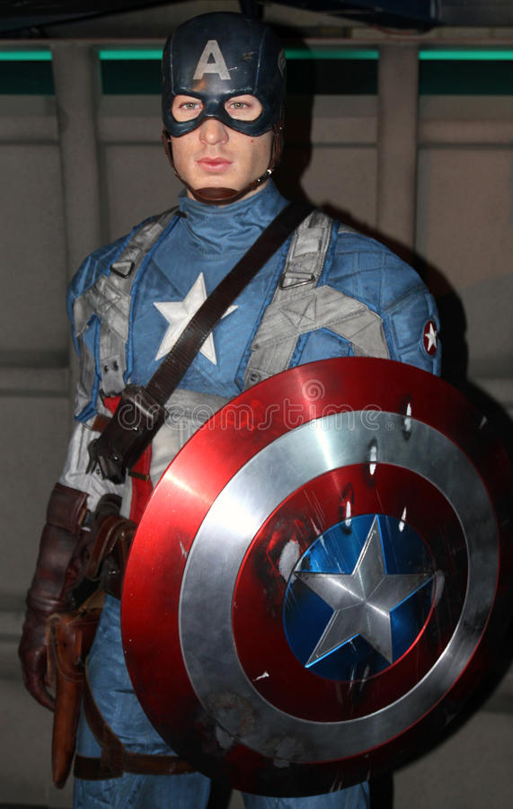 Captain America at Madame Tussaud's royalty free stock photo