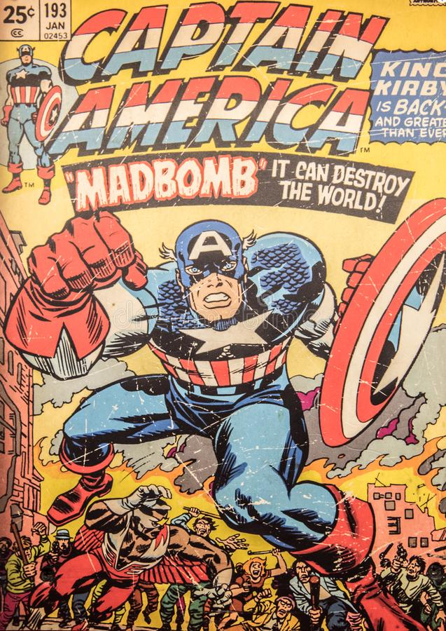 Captain America, original comic book cover royalty free stock image
