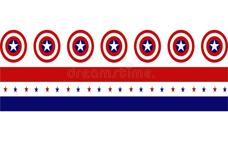 Captain America Shield with red and blue strips with stars vector illustration