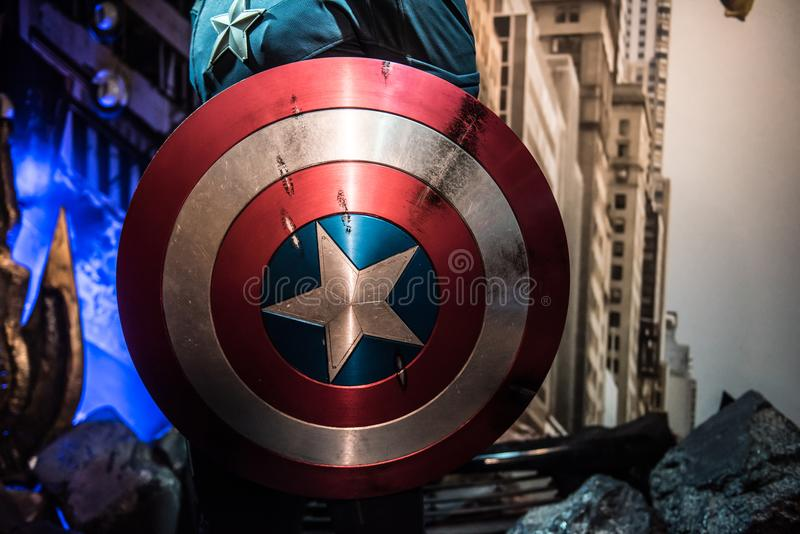 Captain America shield, wax sculpture, Madame Tussaud. Captain America costume, a Marvel superhero character, played by Chris Evans. Wax sculpture in museum of royalty free stock images