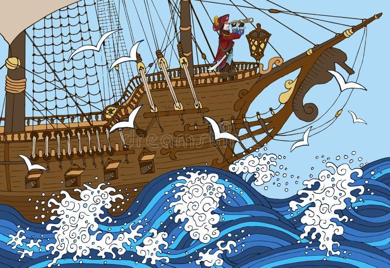 Captain aufpassendes langes Glas auf Schiffsplattform im Sturm lizenzfreie abbildung