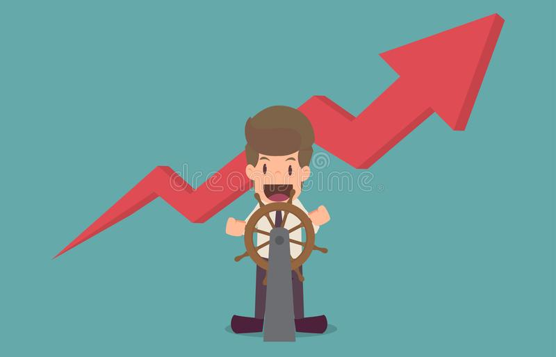 Captain businessman.cartoon of business success is the concept o. F the man characters business, the mood of people, can be used as a background, banner stock illustration