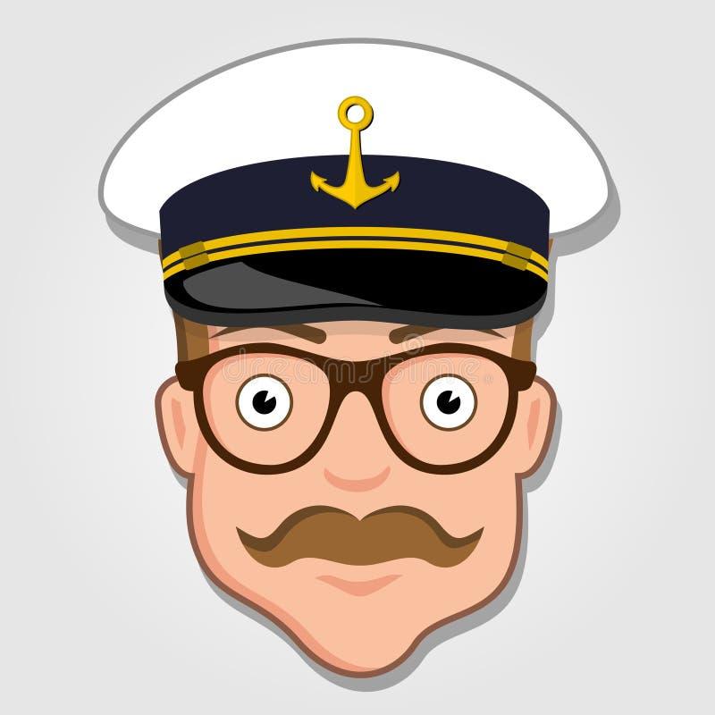 Captain Cartoon Face. vector illustration