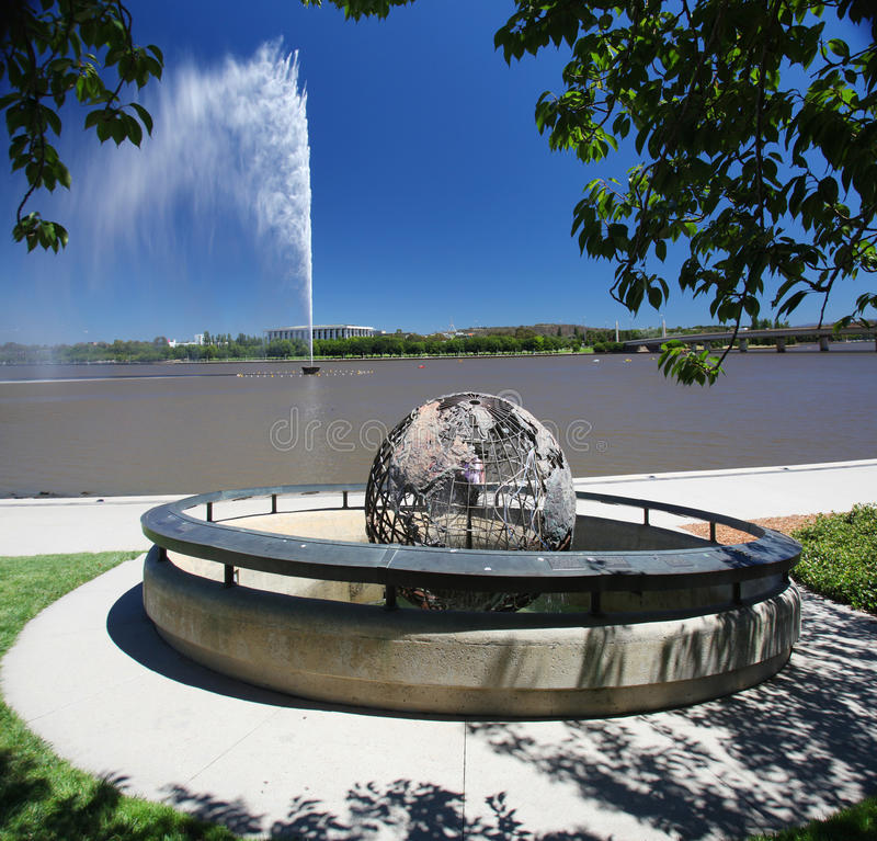 The Captain Cook Memorial in Canberra, Australia. The Captain Cook Memorial and water jet in Canberra, Australia royalty free stock image