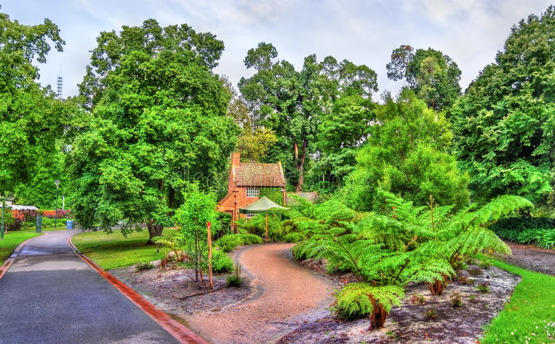 Captain Cook-` s Häuschen in Fitzroy-Garten - Melbourne, Australien lizenzfreies stockfoto