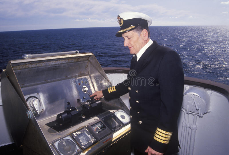 The captain of the ferry Bluenose piloting the ship through the waters between Maine and Nova Scotia stock photo