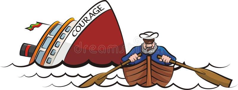 Captain fleeing the sinking ship royalty free illustration