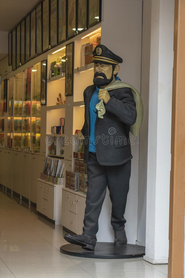 Singapore, Chinatown. Tintin store with Captain Haddock. Captain Haddock full-scale figure at the entrance of the Tintin store in Chinatown stock image