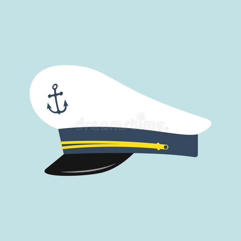 Captain hat with anchor emblem royalty free illustration