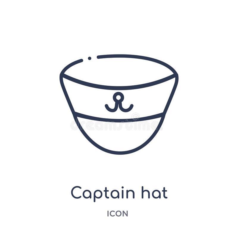 Captain hat icon from nautical outline collection. Thin line captain hat icon isolated on white background vector illustration