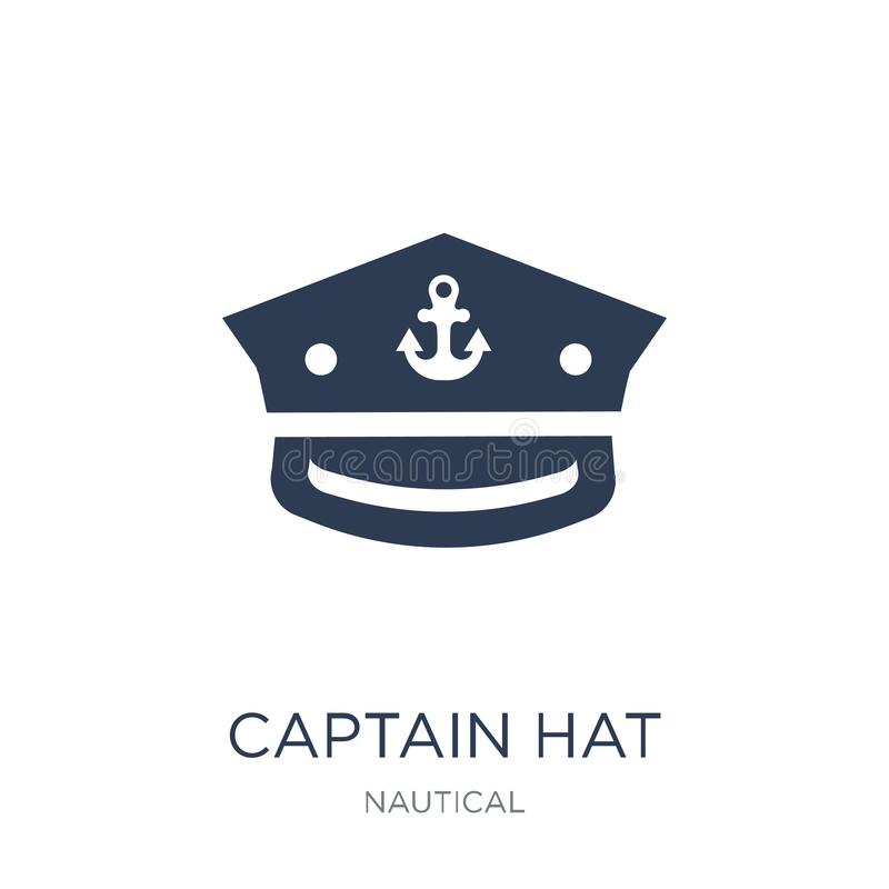 Captain Hat icon. Trendy flat vector Captain Hat icon on white b. Ackground from Nautical collection, vector illustration can be use for web and mobile, eps10 vector illustration