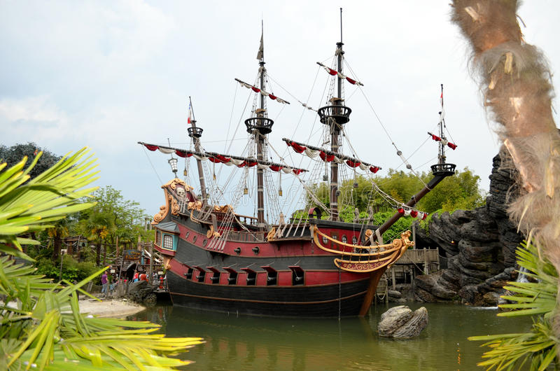 Captain Hook's Pirate ship. France. Paris. Circa June 2013 Disneys Captain Hook's Pirate ship attraction in Paris Disneyland stock photos