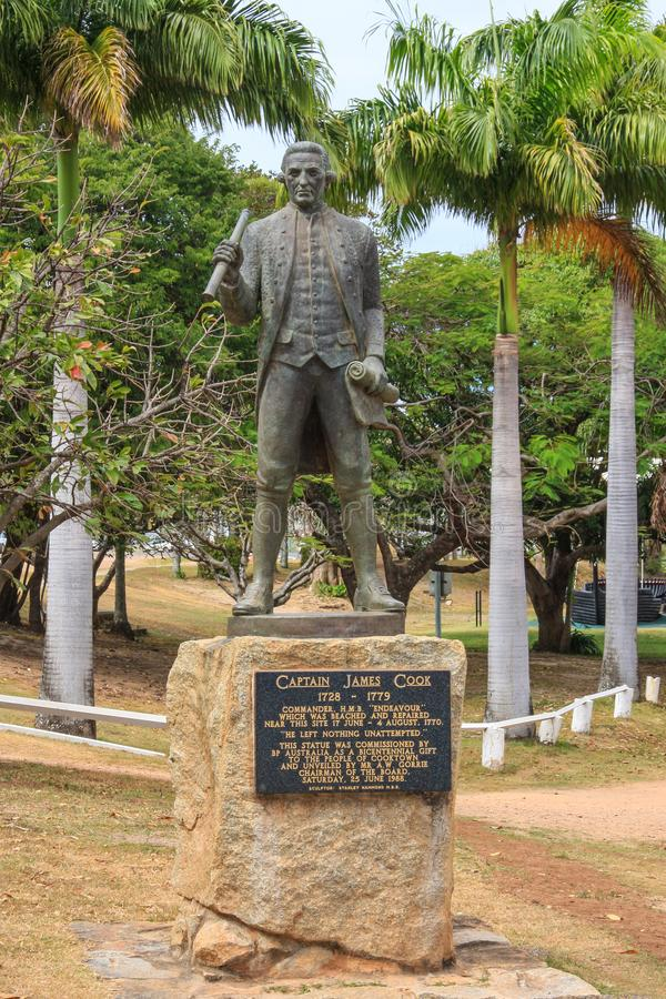Captain James Cook statue showing plaque. royalty free stock images