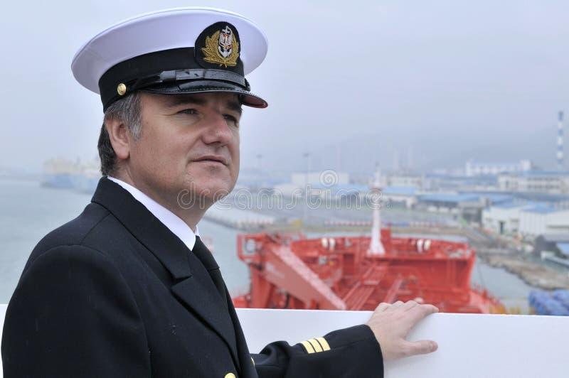 Captain of the ocean ship stock photos